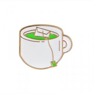 Collectibles Pin Tea Bag In A Cup Enamel Brooch