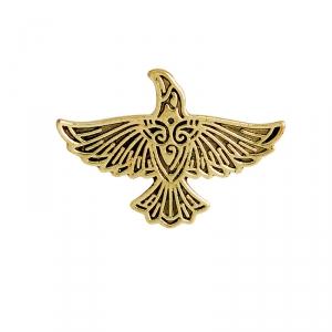 Merch Pin Scandinavian Raven Gold Left Enamel Brooch