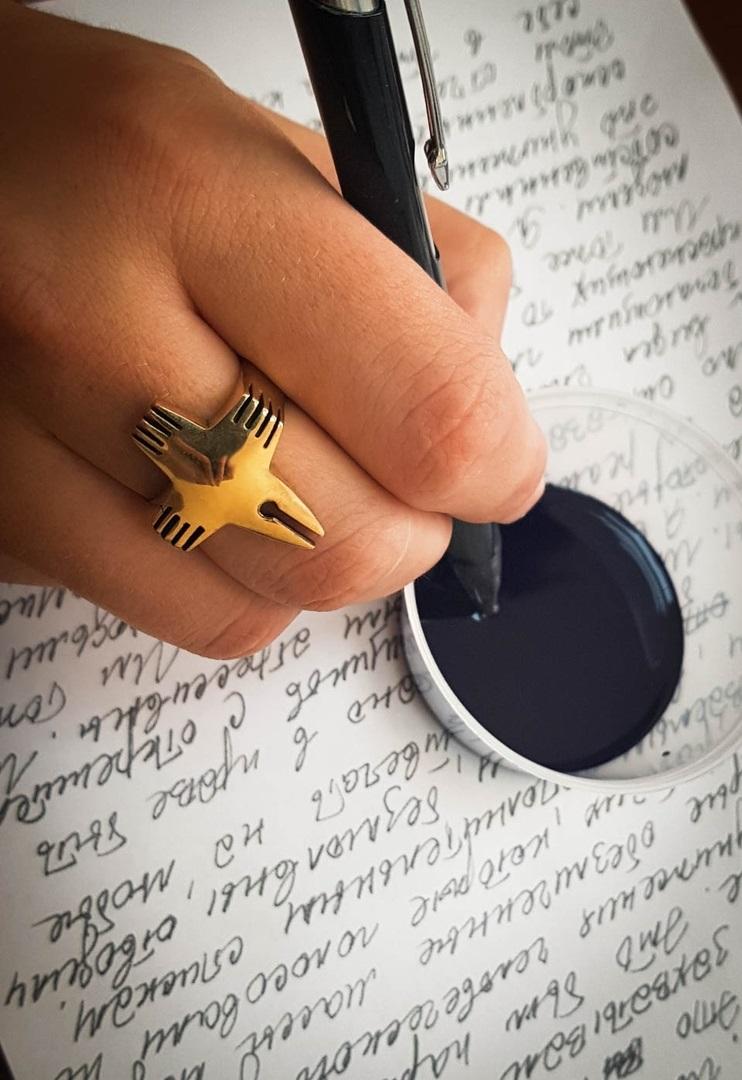 Merchandise Writer Ring Marksfurry Raven Cross Mystic