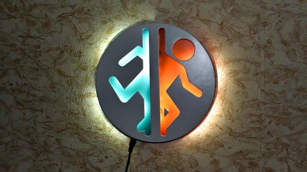 Collectibles Night Light Portal Game Logo Blue Orange Lamp