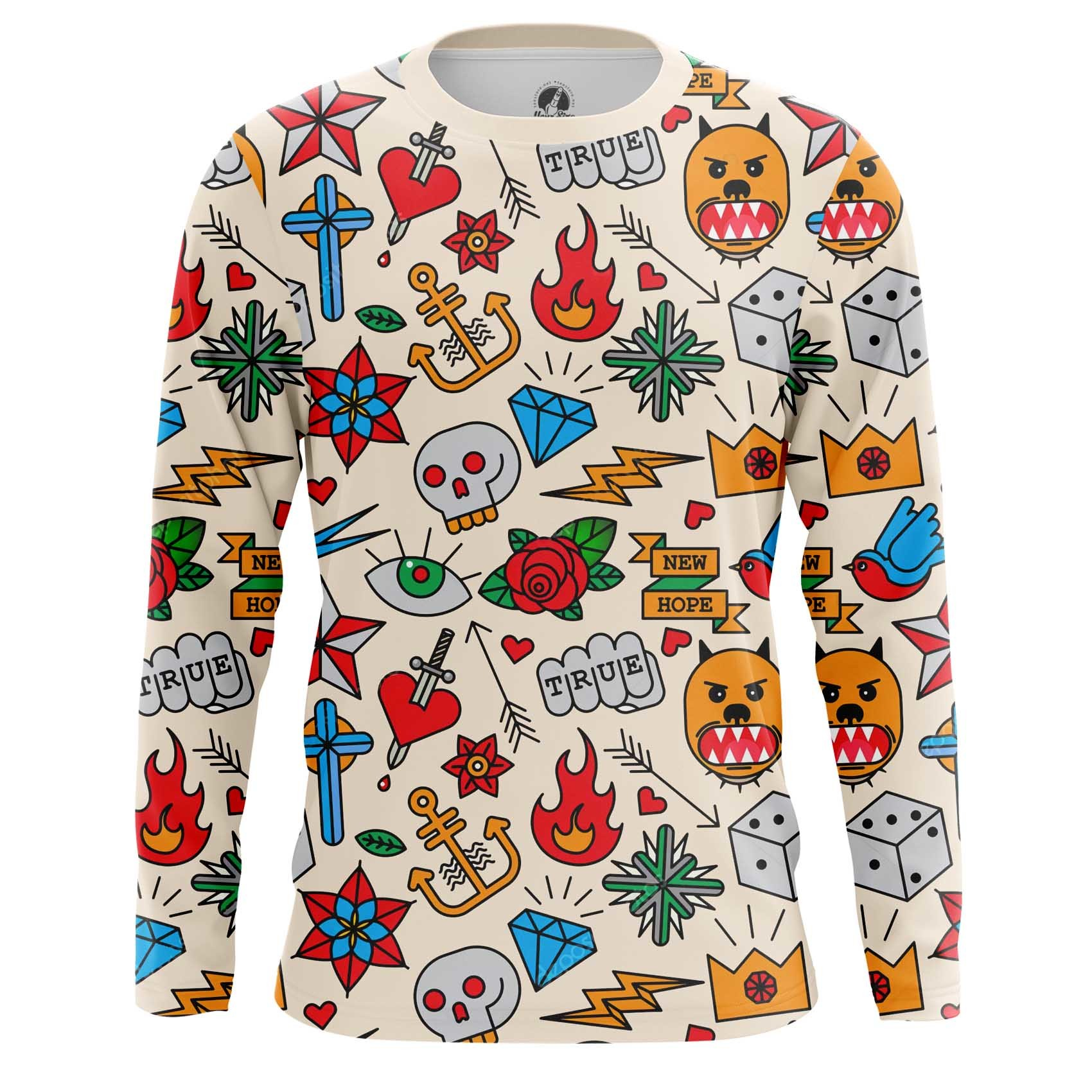 Collectibles Men'S Long Sleeve Retro Tattoo Clothing Print