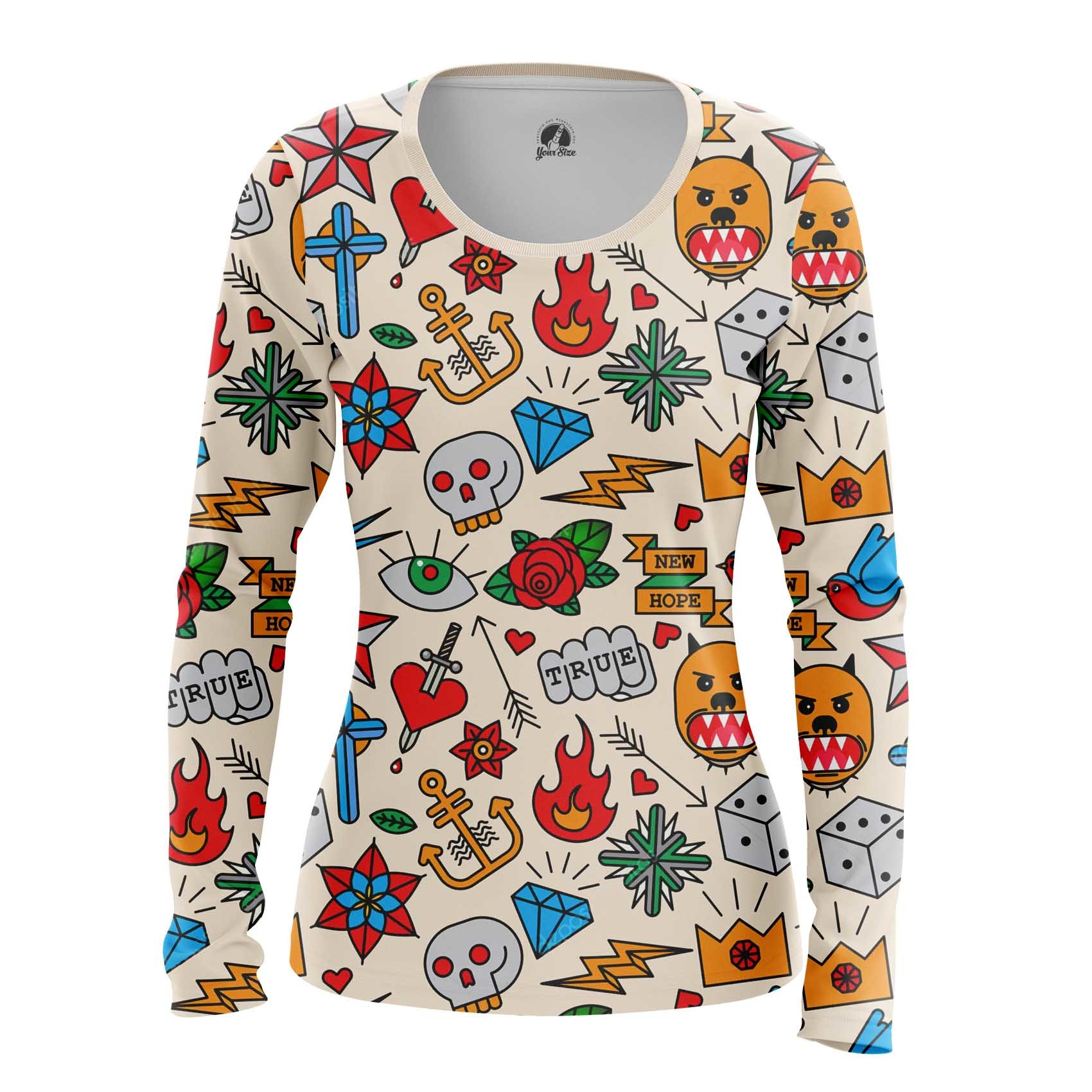 Collectibles Women'S Long Sleeve Retro Tattoo Clothing Print