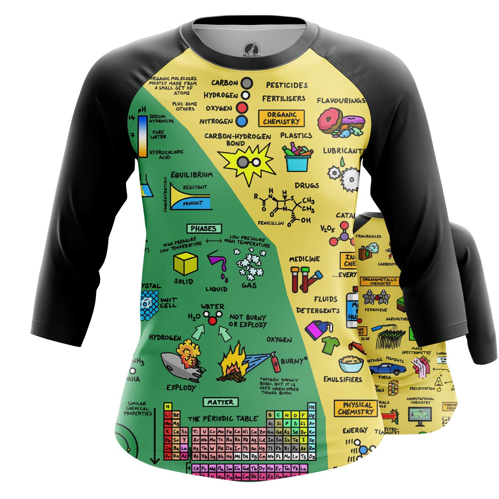 Collectibles Women'S Long Sleeve Chemistry Science Print