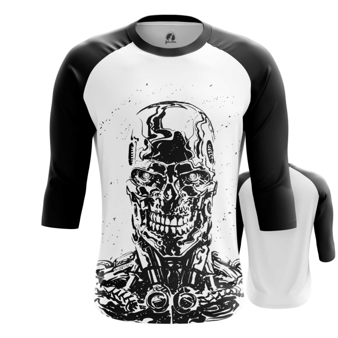 Merch Men'S Raglan Skull Endoskeleton Terminator
