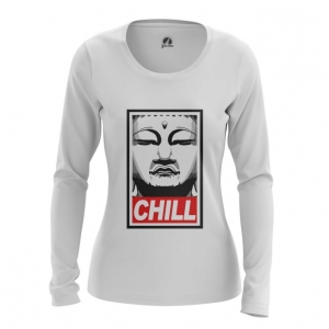 Merch Women'S Long Sleeve Buddha Chill Print Red