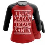 Merch Women'S Raglan I Love Satan I Mean Santa Christmas