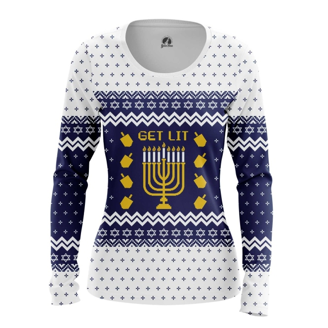 Merchandise Women'S Long Sleeve Hanukkah Jewish Festival Christmas