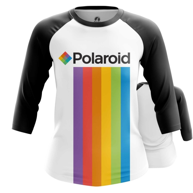 Merch Women'S Raglan Polaroid Rainbow Logo