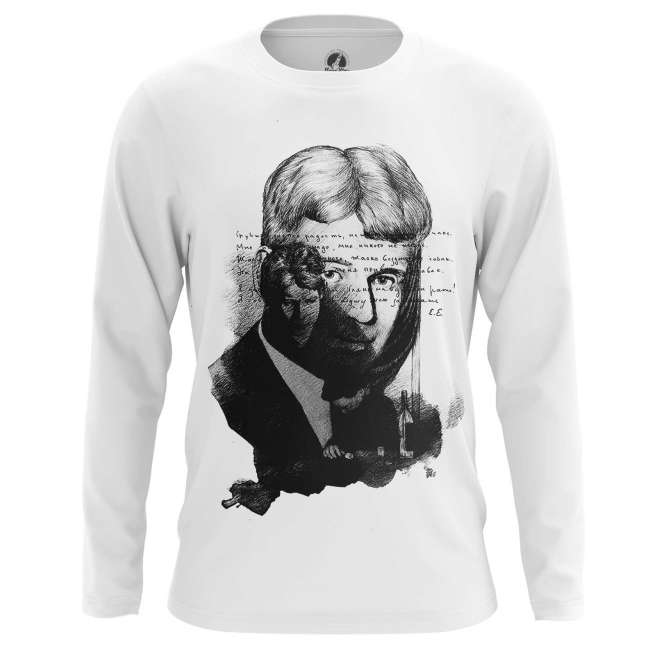 Merchandise Men'S Long Sleeve Sergei Yesenin Black White Paint Cloth