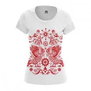 Merchandise Women'S T-Shirt Slavic Art Folk Merch Red Style Top