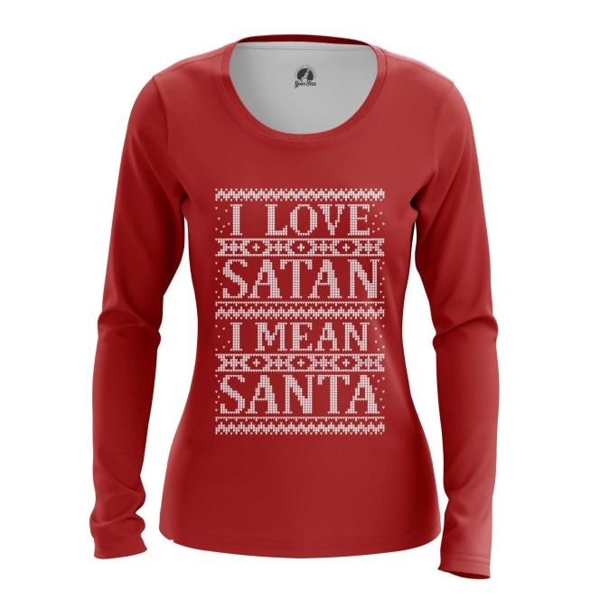 Merch Women'S Long Sleeve I Love Satan I Mean Santa Christmas