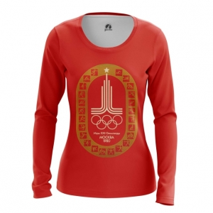 Merch Women'S Long Sleeve Olympic Games 1980 Symbols Red