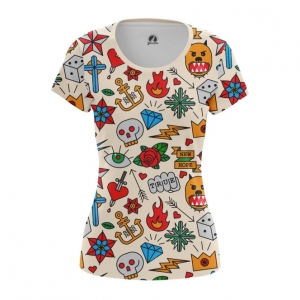 Merchandise Women'S T-Shirt Retro Tattoo Clothing Print Top