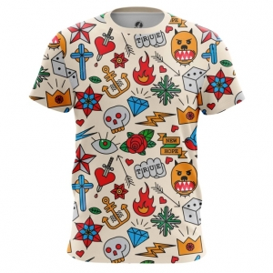 Merchandise Men'S T-Shirt Retro Tattoo Clothing Print Top