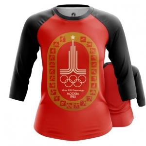Merch Women'S Raglan Olympic Games 1980 Symbols Red