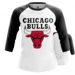 Merchandise - Women Raglan Chicago Bulls Logo Basketball