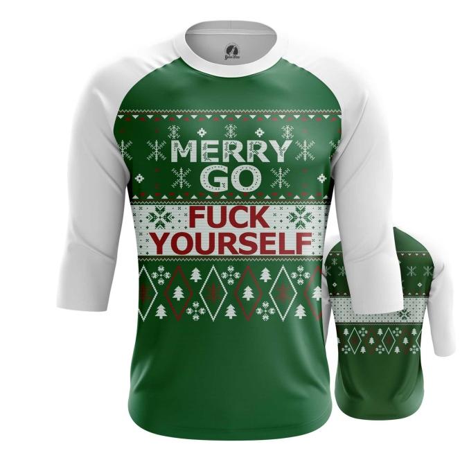 Merchandise Men'S Raglan Merry Christmas Go Fuck Yourself