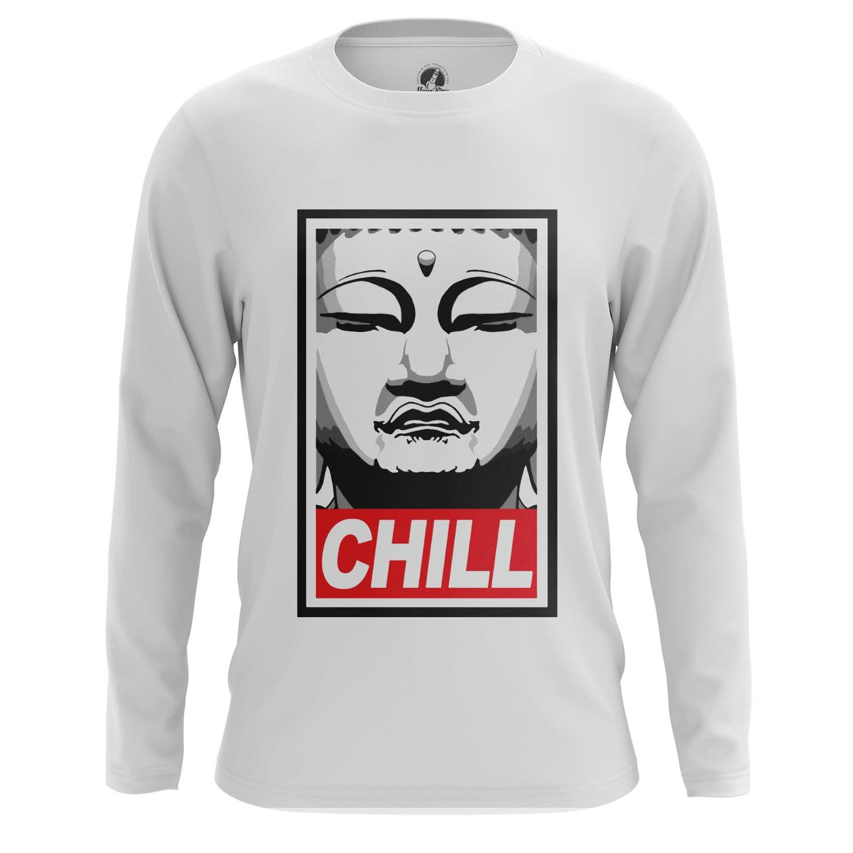 Merchandise Men'S Long Sleeve Buddha Chill Print Red
