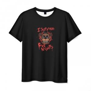 Merch T-Shirt Five Nights At Freddyes Black I Survived