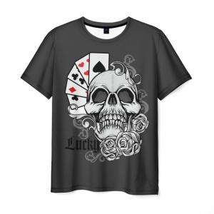 Merchandise T-Shirt Lucky Poker Skull Print
