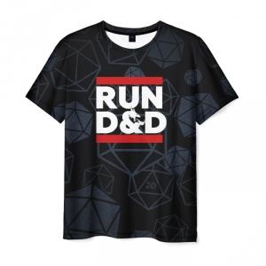 Collectibles T-Shirt Run Dnd Pattern Black Clothing