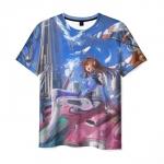 Merch T-Shirt Art Overwatch Scene Print Girl