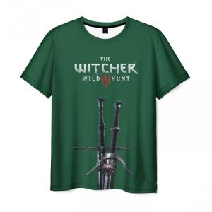 Merch T-Shirt Witcher Green Text Print