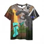 Merchandise T-Shirt Minecraft Steve Fights Ender The Dragon