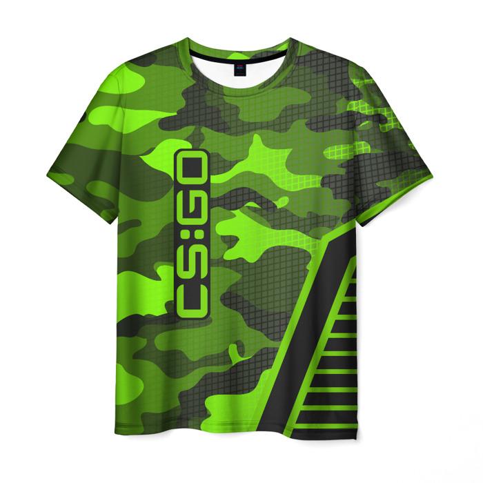 Merch T-Shirt Text Counter Strike Green Camouflage