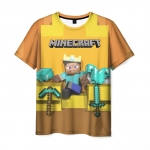 Collectibles T-Shirt The King Of Minecraft Pixel Print Yellow