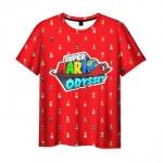 Merch T-Shirt Super Mario Odyssey Pattern Red