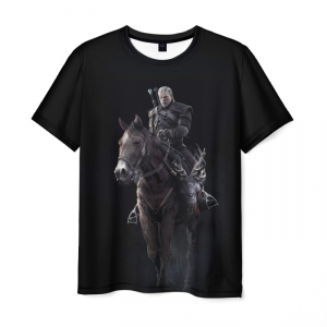 Merch T-Shirt Game Print Witcher Wild Hunt Black