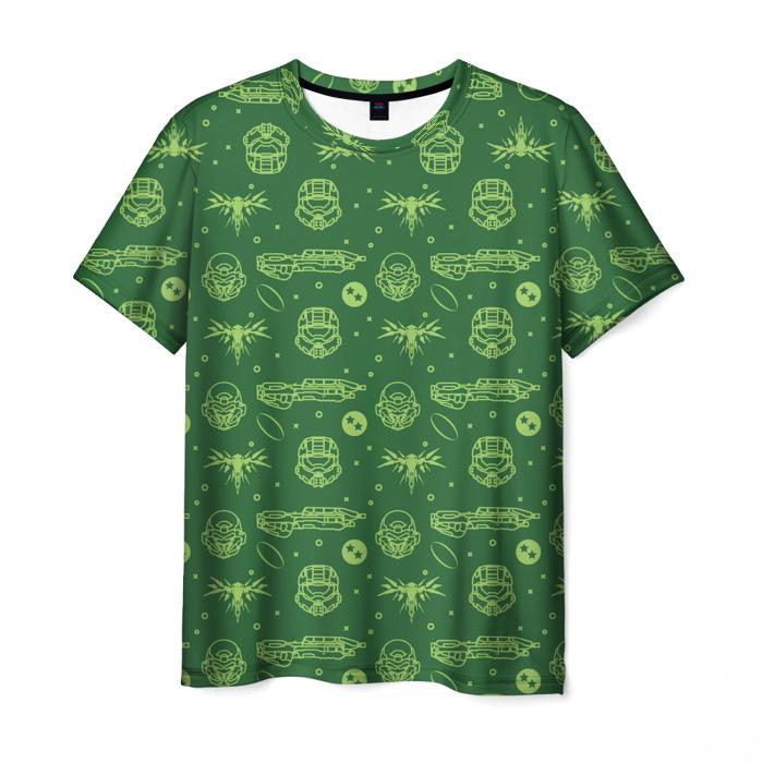Merchandise T-Shirt Green Pattern Master Chief Halo
