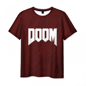 Collectibles T-Shirt Doom Game Sign Title Red