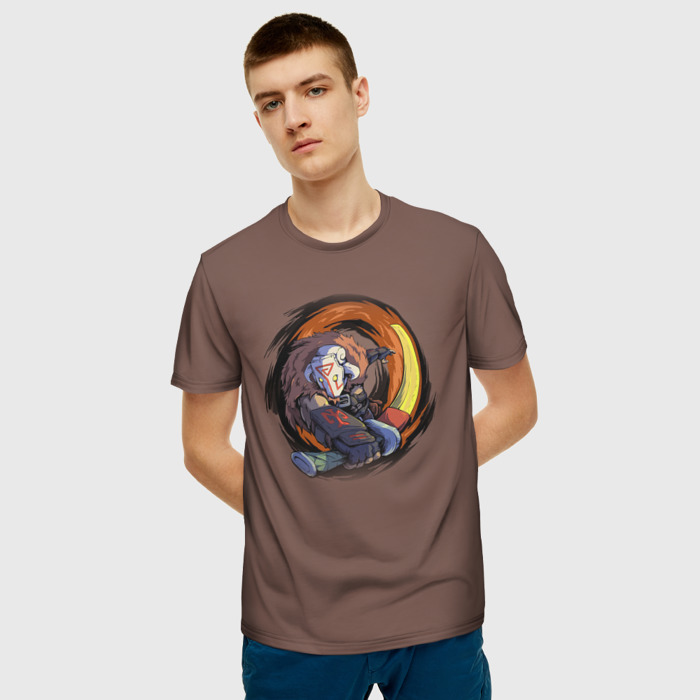 Merch T-Shirt Brown Print Dota Juggernaut