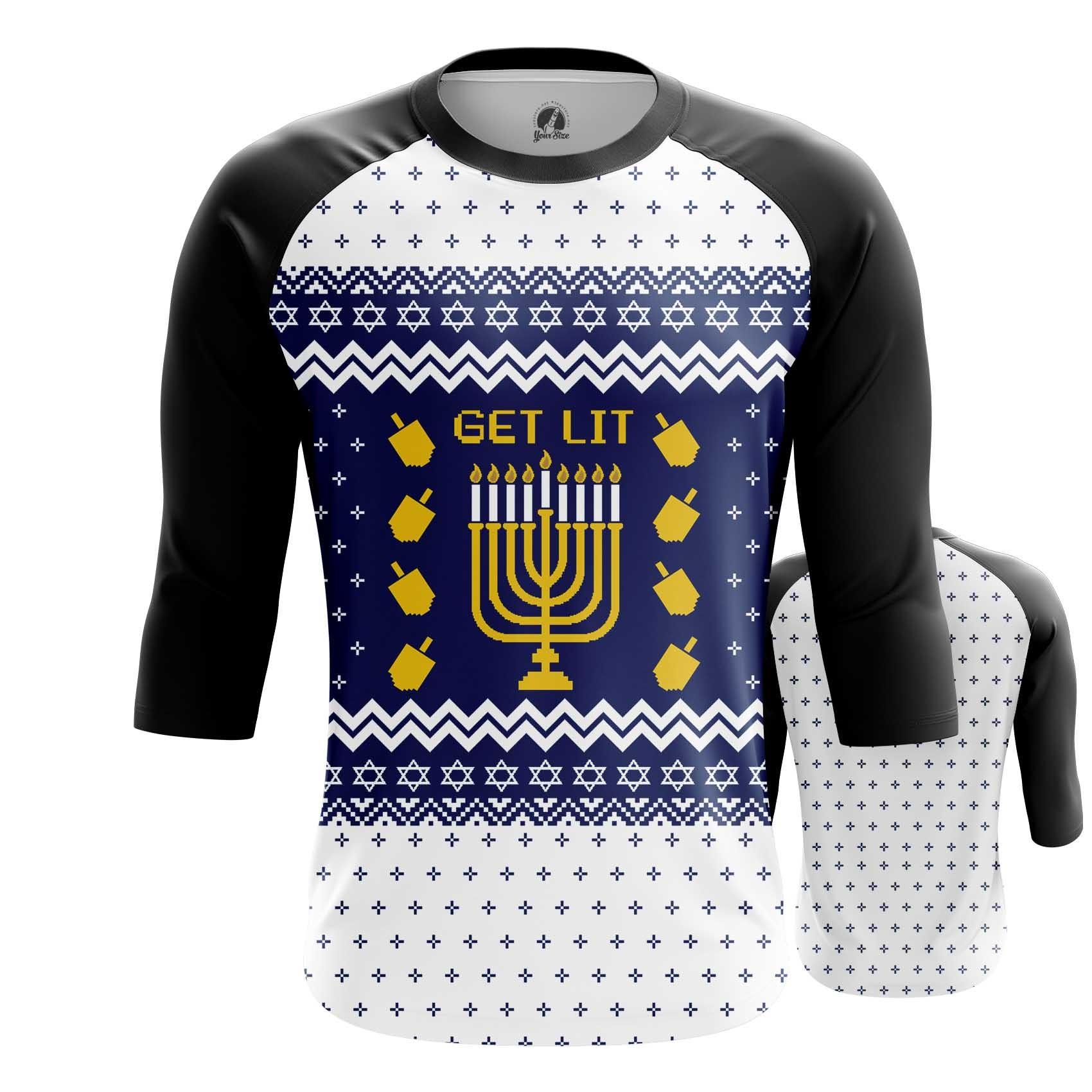 Collectibles Men'S Raglan Hanukkah Jewish Festival Christmas