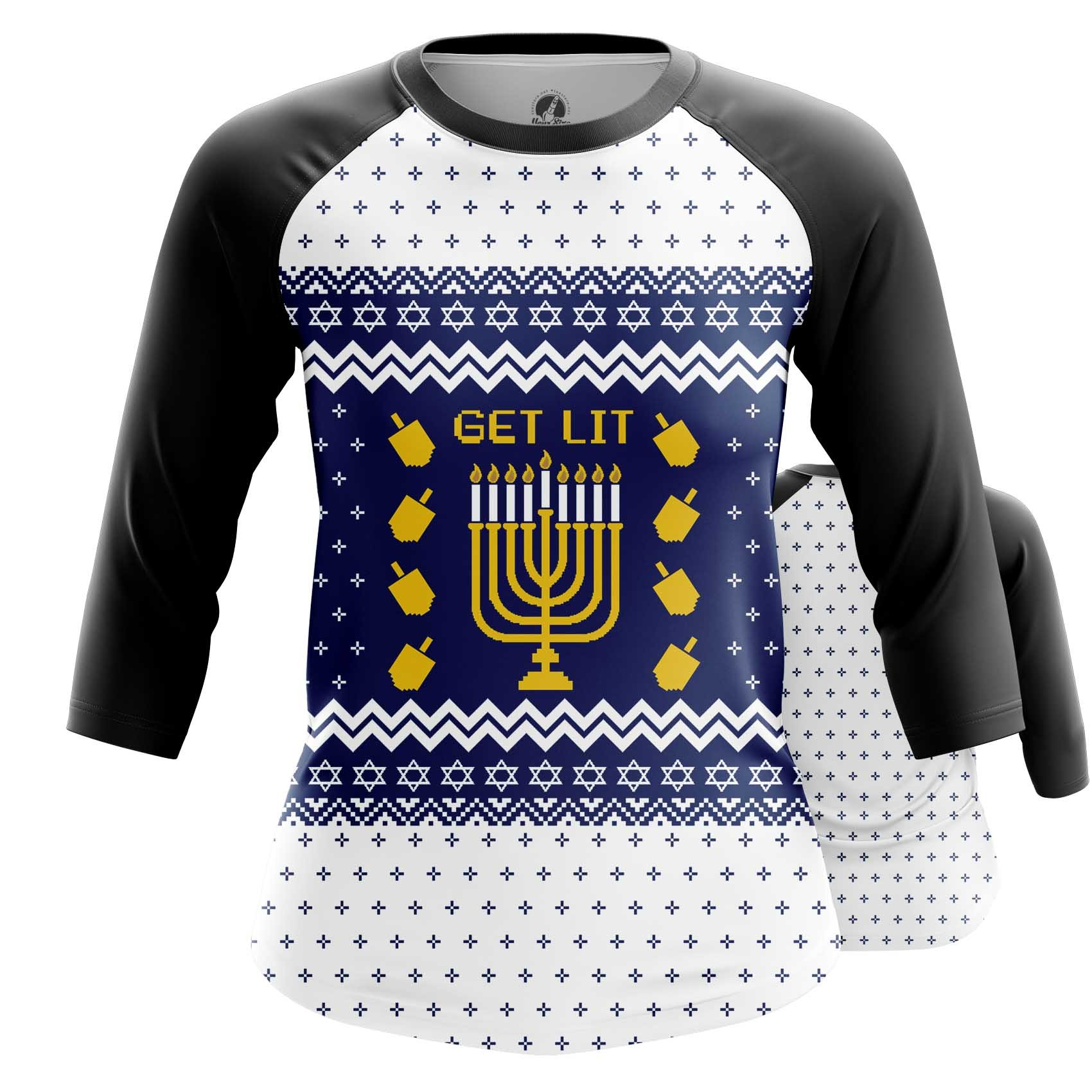 Collectibles Women'S Raglan Hanukkah Jewish Festival Christmas
