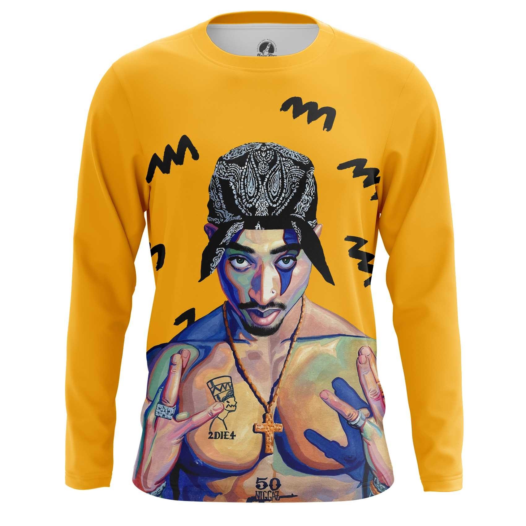 Merchandise Men'S Vest 2Pac Shakur Yellow Print Portait Top