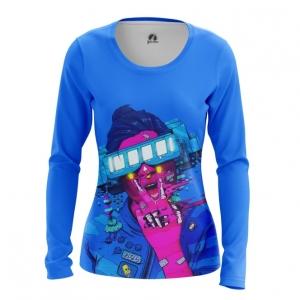 Merchandise Women'S Long Sleeve Cyberpunk Neon Blue
