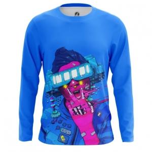 Merchandise Men'S Long Sleeve Cyberpunk Neon Blue