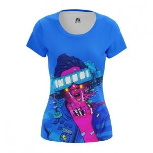 Merchandise Women'S T-Shirt Cyberpunk Neon Blue Top