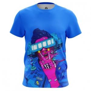 Merchandise Men'S T-Shirt Cyberpunk Neon Blue Top