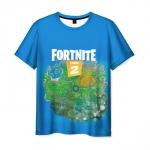 Merch Men'S T-Shirt Fortnite Map Blue Island