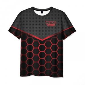 Merch Men T-Shirt Metro 2033 Exodus Red Hexagon Pattern