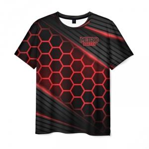 Merch Men T-Shirt Metro 2033 Exodus Red Neon Hexes