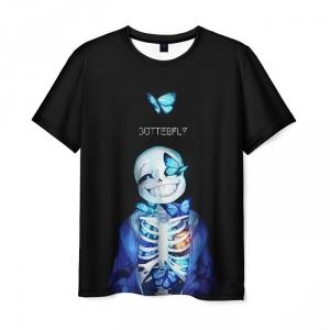 Merchandise Undertale Men T-Shirt Sans Butterfly Pixel Art