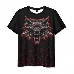 Merch Witcher Men T-Shirt Bloody Wolf Black