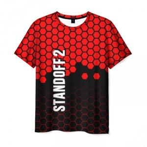 Merch Men T-Shirt Standoff 2 Red Hexes Pattern