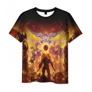 Collectibles Men'S T-Shirt Doom Game Cover Print