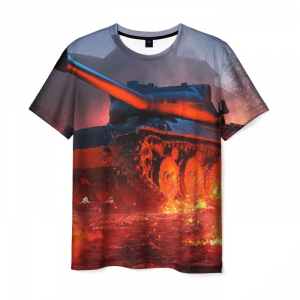 Collectibles Men'S T-Shirt World Of Tanks Fire Print Flame